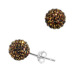 Sterling Silver 8mm Disco Ball Stud Earrings with Chocolate Crystal Glass