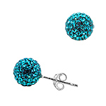 Sterling Silver 8mm Disco Ball Stud Earrings with Blue Crystal Glass