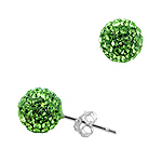 Sterling Silver 8mm Disco Ball Stud Earrings with Green Crystal Glass