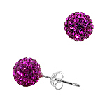 Sterling Silver 8mm Disco Ball Stud Earrings with Pink Crystal Glass