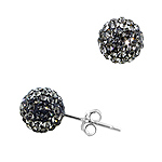 Sterling Silver 8mm Disco Ball Stud Earrings with Grey Crystal Glass