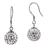 Sterling Silver 10mm Disco Ball Dangle Earrings with White Crystal Glass