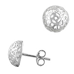 Sterling Silver 10mm Filigree Floral Half Ball Stud Earrings