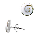 Sterling Silver and Eye of Shiva Shell 10mm Round Stud Earrings