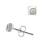 Sterling Silver and Eye of Shiva Shell 5mm Square Stud Earrings