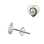 Sterling Silver and Eye of Shiva Shell 8mm Heart Stud Earrings