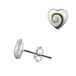 Sterling Silver and Eye of Shiva Shell 8mm Heart Stud Earrings