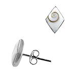 Sterling Silver and Eye of Shiva Shell 11x8mm Diamond Shaped Stud Earrings