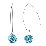 Sterling Silver and Sky Blue Crystal Class 10mm Round Disco Ball Dangle Earrings