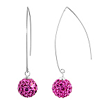 Sterling Silver and Pink Crystal Class 10mm Round Disco Ball Dangle Earrings