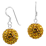 Sterling Silver and Yellow Crystal Glass 12mm Round Disco Ball Dangle Earrings