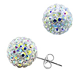 Sterling Silver and Rainbow White Crystal Glass 12mm Round Disco Ball Stud Earrings