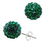 Sterling Silver and Green Crystal Glass 12mm Round Disco Ball Stud Earrings