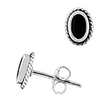 Sterling Silver and Black Onyx 6x8mm Oval Stud Earrings