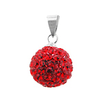 Sterling Silver and Red Crystal Glass 12mm Round Disco Ball Pendant