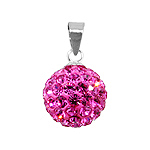 Sterling Silver and Pink Crystal Glass 12mm Round Disco Ball Pendant