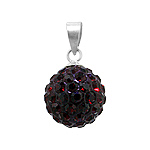 Sterling Silver and Garnet Crystal Glass 12mm Round Disco Ball Pendant