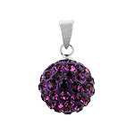 Sterling Silver and Dark Purple Crystal Glass 12mm Round Disco Ball Pendant