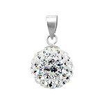 Sterling Silver and White Crystal Glass 12mm Round Disco Ball Pendant