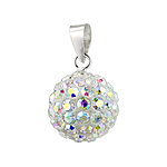 Sterling Silver and Rainbow White Crystal Glass 12mm Round Disco Ball Pendant