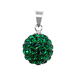 Sterling Silver and Green Crystal Glass 12mm Round Disco Ball Pendant