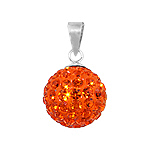 Sterling Silver and Orange Crystal Glass 12mm Round Disco Ball Pendant