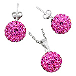 Sterling Silver and Pink Crystal Glass 12mm Disco Ball Pendant and Stud Earrings Set