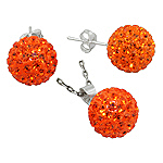Sterling Silver and Orange Crystal Glass 12mm Disco Ball Pendant and Stud Earrings Set