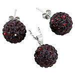 Sterling Silver and Garnet Crystal Glass 12mm Disco Ball Pendant and Stud Earrings Set