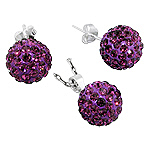 Sterling Silver and Dark Purple Crystal Glass 12mm Disco Ball Pendant and Stud Earrings Set