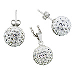 Sterling Silver and White Crystal Glass 12mm Disco Ball Pendant and Stud Earrings Set