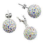 Sterling Silver and Rainbow White Crystal Glass 12mm Disco Ball Pendant and Stud Earrings Set