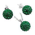 Sterling Silver and Green Crystal Glass 12mm Disco Ball Pendant and Stud Earrings Set