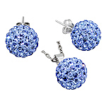 Sterling Silver and Blue Crystal Glass 12mm Disco Ball Pendant and Stud Earrings Set