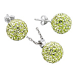 Sterling Silver and Citrine Crystal Glass 12mm Disco Ball Pendant and Stud Earrings Set