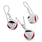 Sterling Silver and White, Red, and Purple Crystal Glass 12mm Disco Ball Pendant and Dangle Earrings