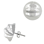 Sterling Silver 16mm Ribbed Half Ball Stud Earrings