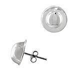 Sterling Silver 12mm Flat Base Half Ball Stud Earrings
