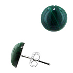 Sterling Silver 10mm Malachite Round Semi-Sphere Stud Earrings