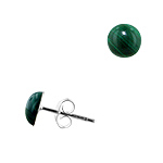 Sterling Silver 7mm Malachite Round Semi-Sphere Stud Earrings