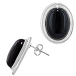 Sterling Silver and Black Onyx Oval Stud Earrings