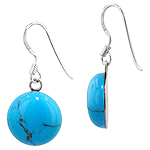 Sterling Silver and Synthetic Turquoise 13mm Round Dangle Earrings