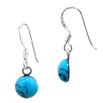 Sterling Silver and Synthetic Turquoise 7mm Round Dangle Earrings