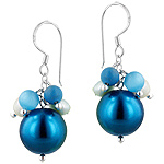 Sterling Silver Bunch of Beads Dangle Earrings with Simulated and Freshwater Pearls, Reconstructed T