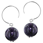 Sterling Silver and 14mm Round Amethyst Bead Dangle Earrings