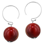 Sterling Silver and 14mm Round Carnelian Bead Dangle Earrings
