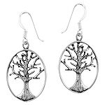 Sterling Silver Oval Tree of Life Dangle Earrings
