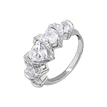 Sterling Silver Rhodium Plated Five Hearts Engagement Ring with White Cubic Zirconia Heart Shaped St