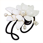 White Mother of Pearl Blooming Flower Adjustable Length Cuff Bracelet