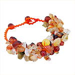 "Carnelian, Agate, and Jade Nuggets and Round Beads Bracelet on Orange Cotton Thread, 7""-8"" Adjustabl"